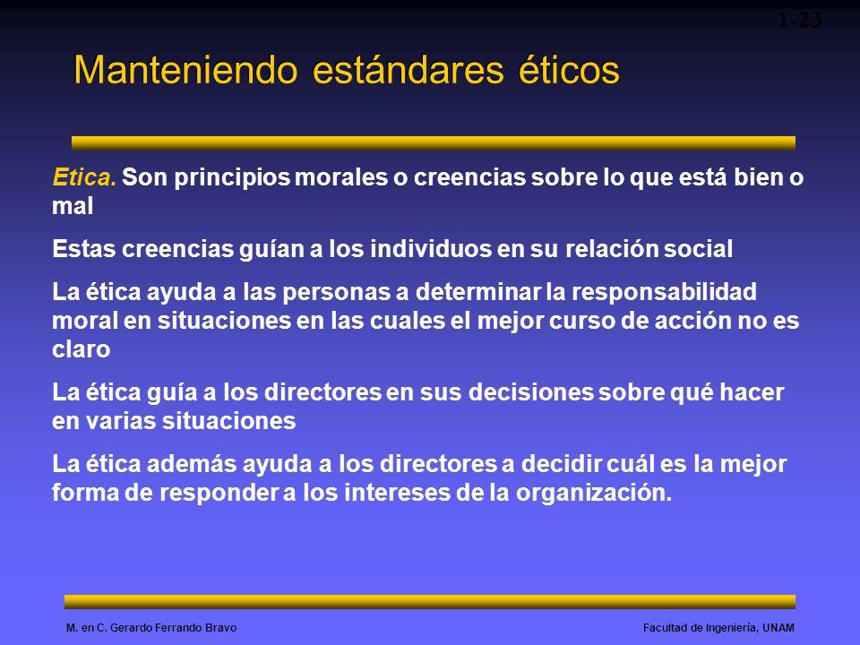 Facultad de Ingeniería, UNAMM. en C. Gerardo Ferrando Bravo Manteniendo estándares éticos 1-23 Etica. Son principios morales o creencias sobre lo que