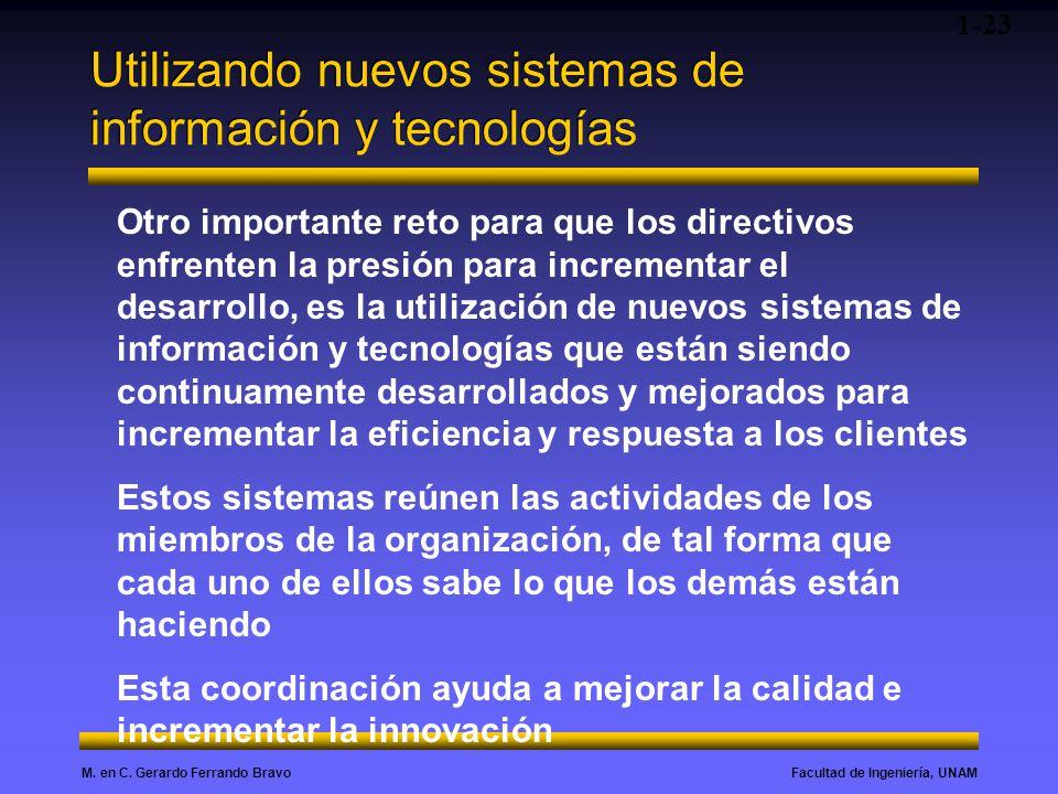 Facultad de Ingeniería, UNAMM. en C. Gerardo Ferrando Bravo Utilizando nuevos sistemas de información y tecnologías 1-23 Otro importante reto para que