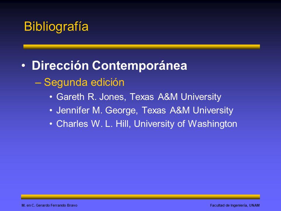 Facultad de Ingeniería, UNAMM. en C. Gerardo Ferrando Bravo Dirección Contemporánea –Segunda edición Gareth R. Jones, Texas A&M University Jennifer M.