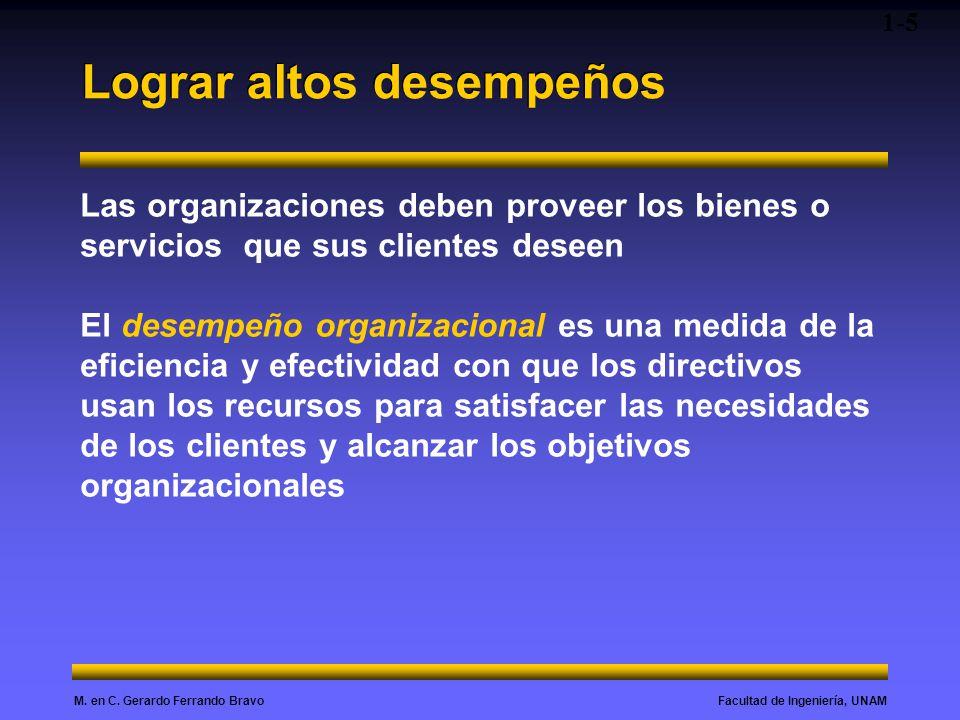 Facultad de Ingeniería, UNAMM. en C. Gerardo Ferrando Bravo Lograr altos desempeños 1-5 Las organizaciones deben proveer los bienes o servicios que su