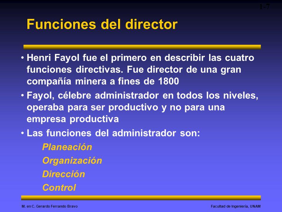Facultad de Ingeniería, UNAMM. en C. Gerardo Ferrando Bravo Funciones del director Henri Fayol fue el primero en describir las cuatro funciones direct