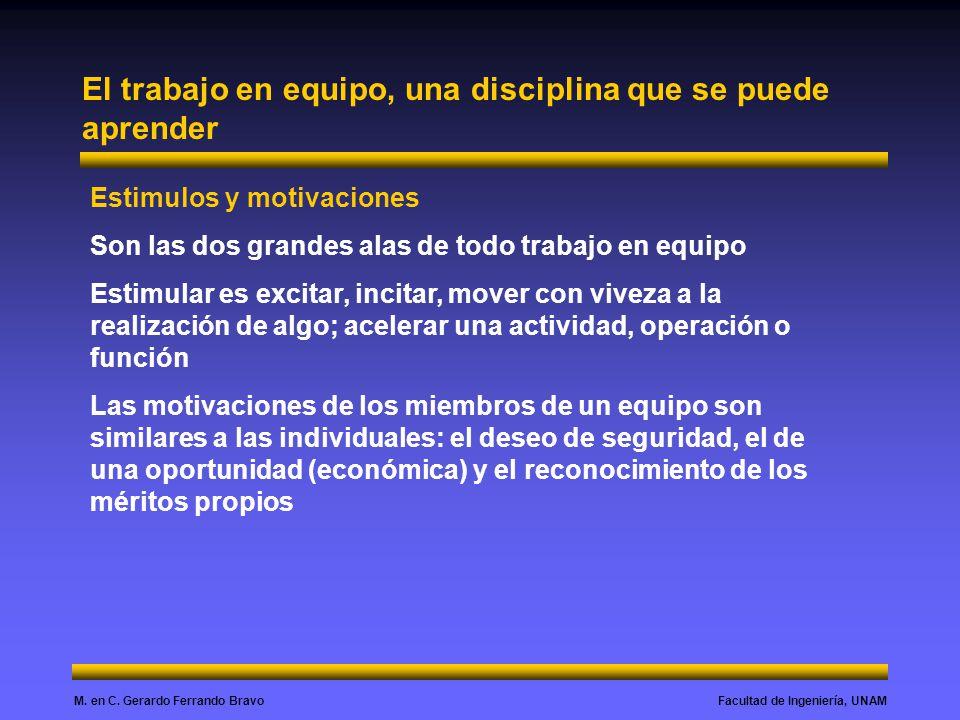 Facultad de Ingeniería, UNAMM. en C. Gerardo Ferrando Bravo El trabajo en equipo, una disciplina que se puede aprender Estimulos y motivaciones Son la