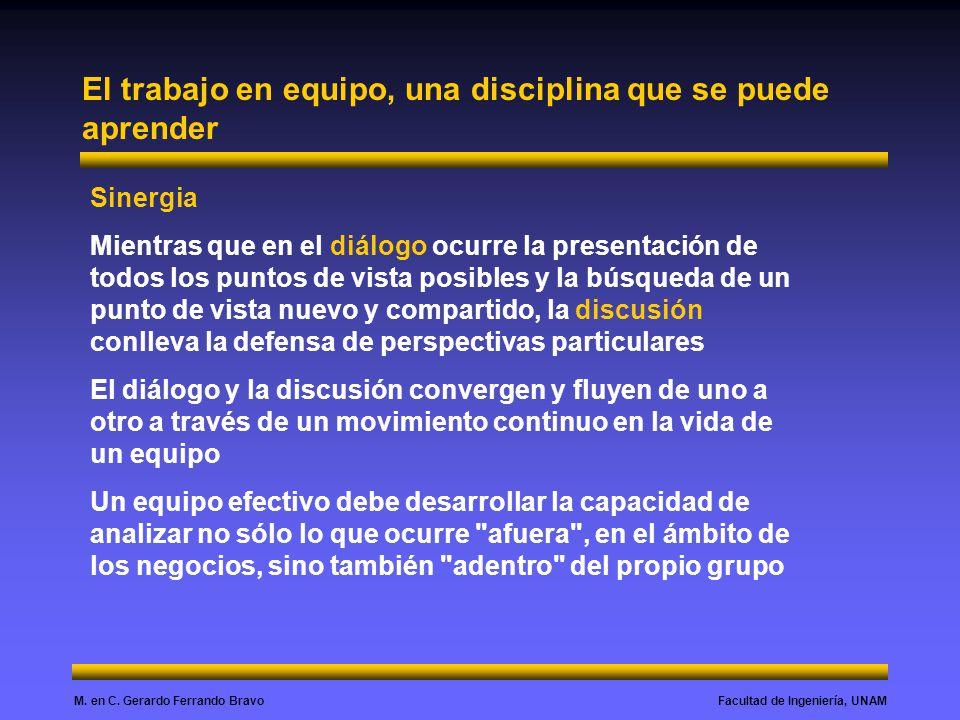 Facultad de Ingeniería, UNAMM. en C. Gerardo Ferrando Bravo El trabajo en equipo, una disciplina que se puede aprender Sinergia Mientras que en el diá