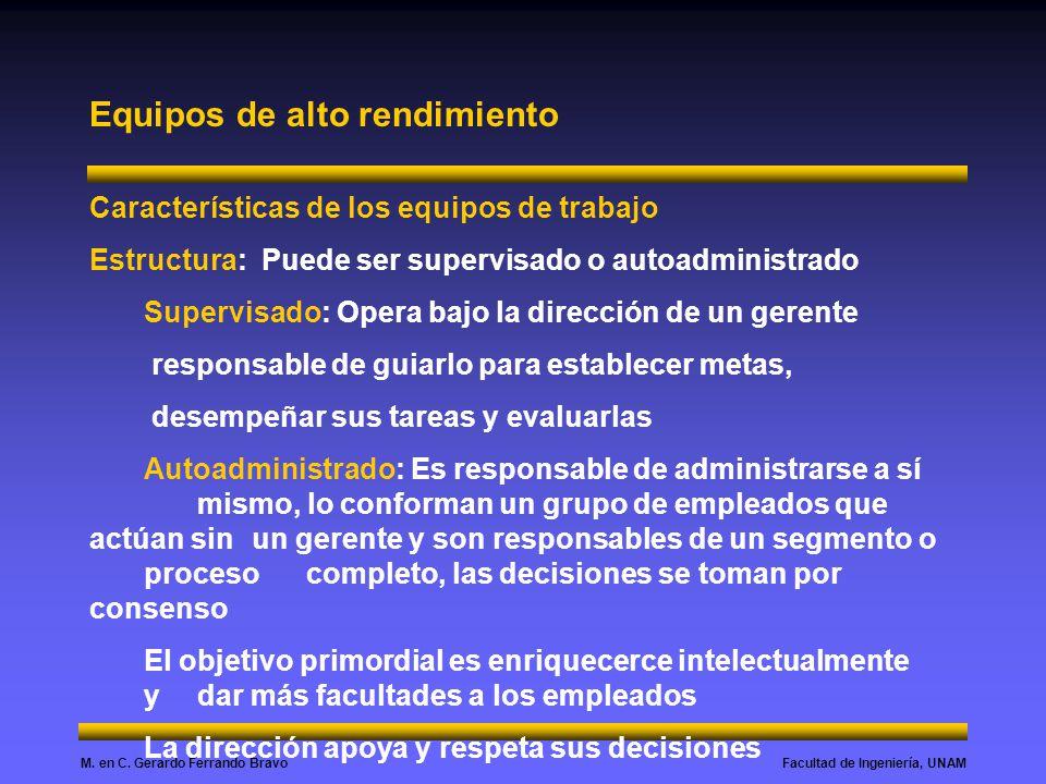 Facultad de Ingeniería, UNAMM. en C. Gerardo Ferrando Bravo Equipos de alto rendimiento Características de los equipos de trabajo Estructura: Puede se