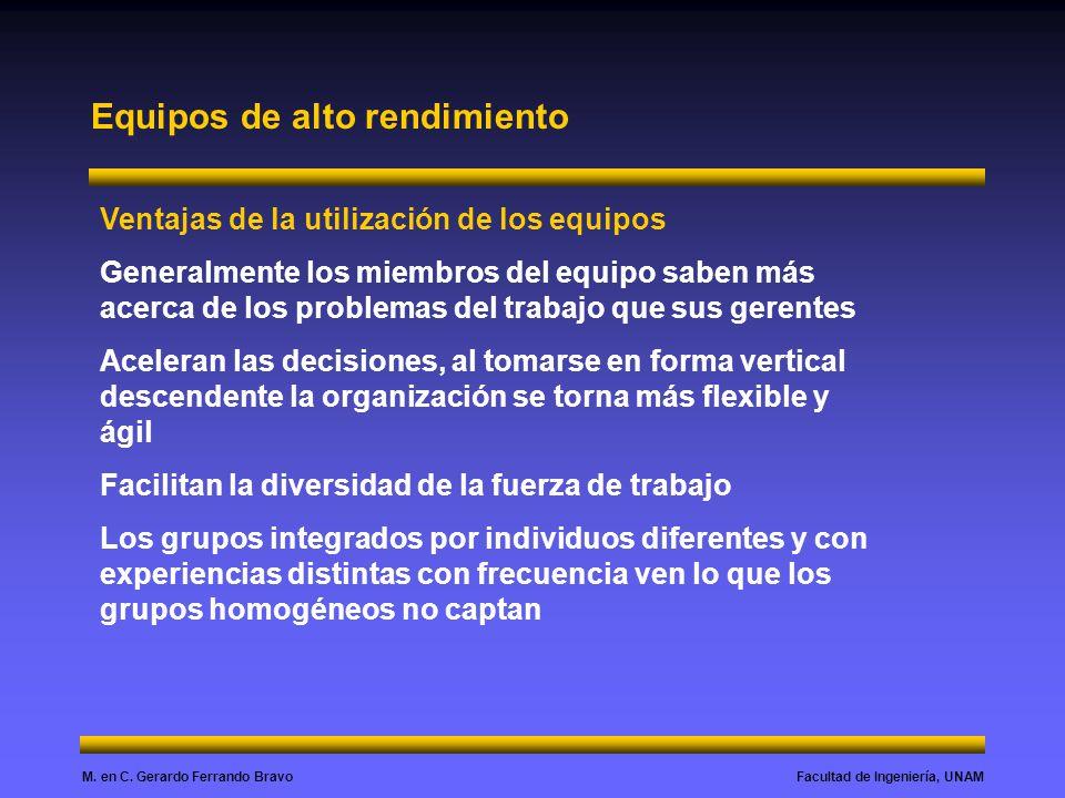 Facultad de Ingeniería, UNAMM. en C. Gerardo Ferrando Bravo Equipos de alto rendimiento Ventajas de la utilización de los equipos Generalmente los mie
