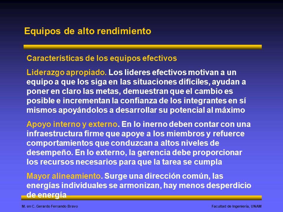 Facultad de Ingeniería, UNAMM. en C. Gerardo Ferrando Bravo Equipos de alto rendimiento Características de los equipos efectivos Liderazgo apropiado.