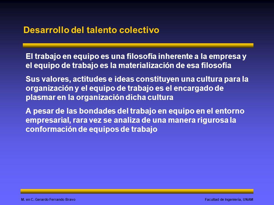 Facultad de Ingeniería, UNAMM. en C. Gerardo Ferrando Bravo Desarrollo del talento colectivo El trabajo en equipo es una filosofía inherente a la empr