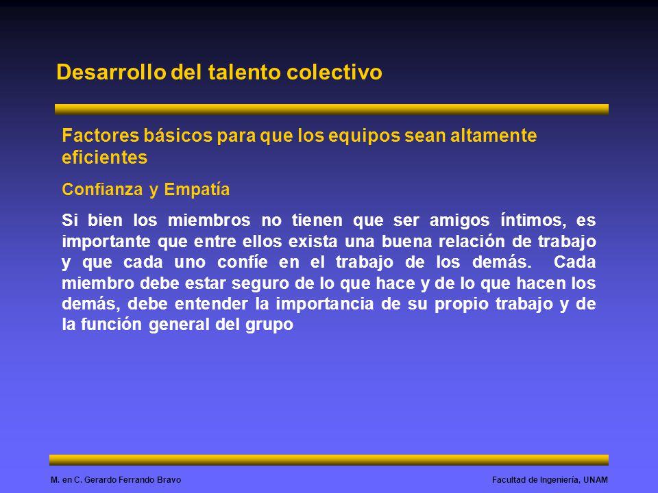 Facultad de Ingeniería, UNAMM. en C. Gerardo Ferrando Bravo Desarrollo del talento colectivo Factores básicos para que los equipos sean altamente efic