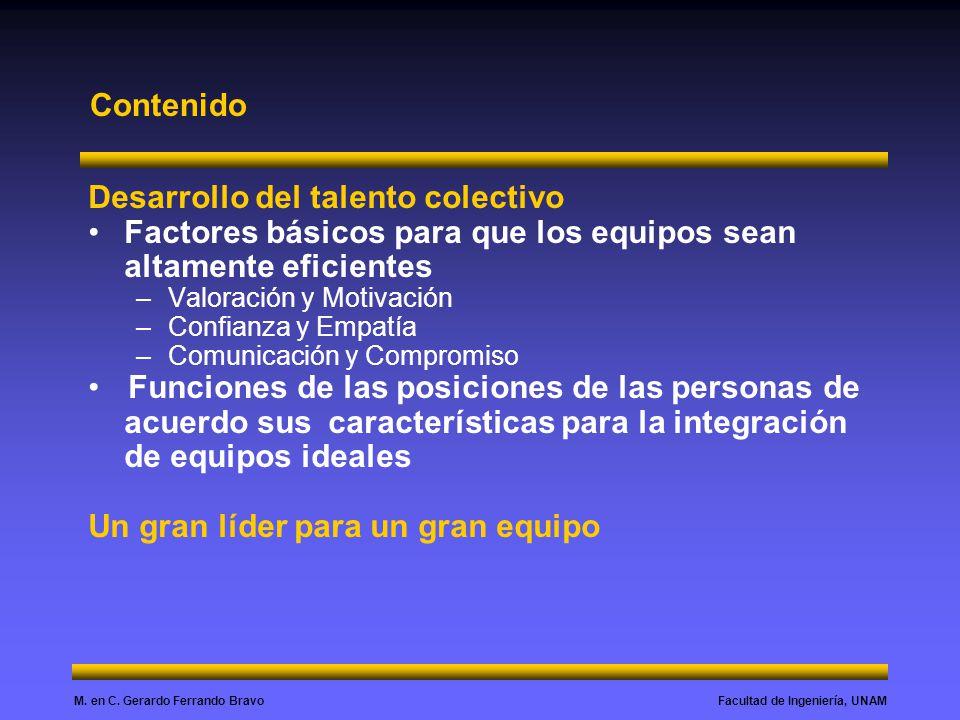 Facultad de Ingeniería, UNAMM. en C. Gerardo Ferrando Bravo Contenido Desarrollo del talento colectivo Factores básicos para que los equipos sean alta