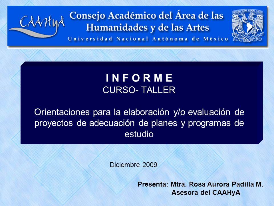 I N F O R M E CURSO- TALLER Orientaciones para la elaboración y/o evaluación de proyectos de adecuación de planes y programas de estudio Diciembre 200