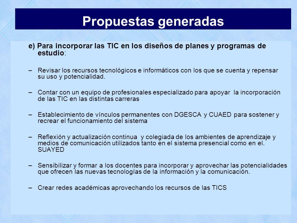 e) Para incorporar las TIC en los diseños de planes y programas de estudio: –Revisar los recursos tecnológicos e informáticos con los que se cuenta y