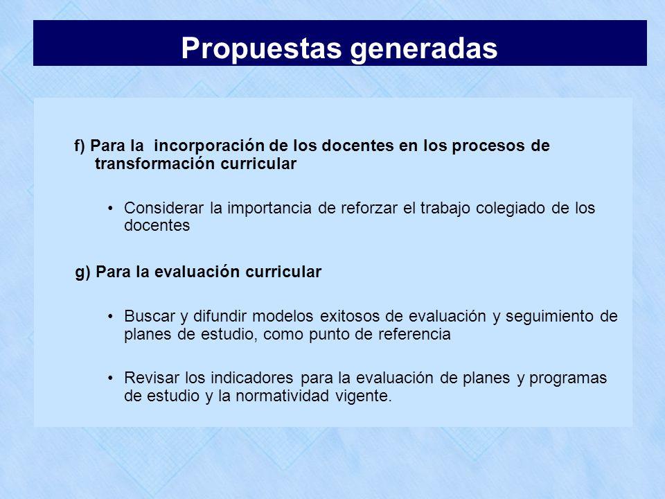 f) Para la incorporación de los docentes en los procesos de transformación curricular Considerar la importancia de reforzar el trabajo colegiado de lo