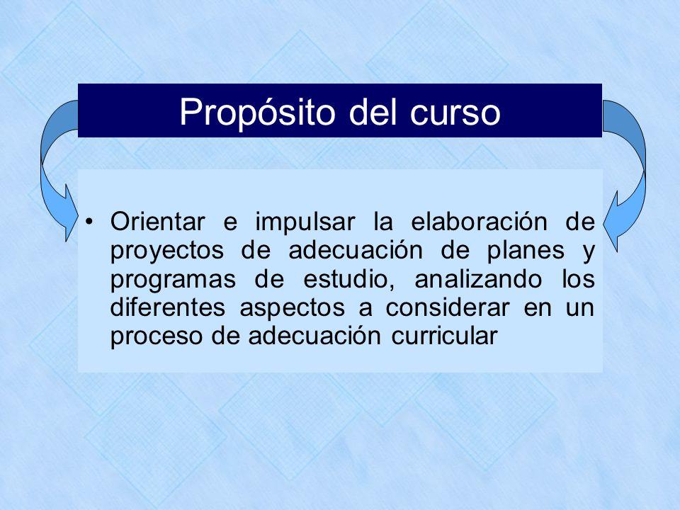 Propósito del curso Orientar e impulsar la elaboración de proyectos de adecuación de planes y programas de estudio, analizando los diferentes aspectos