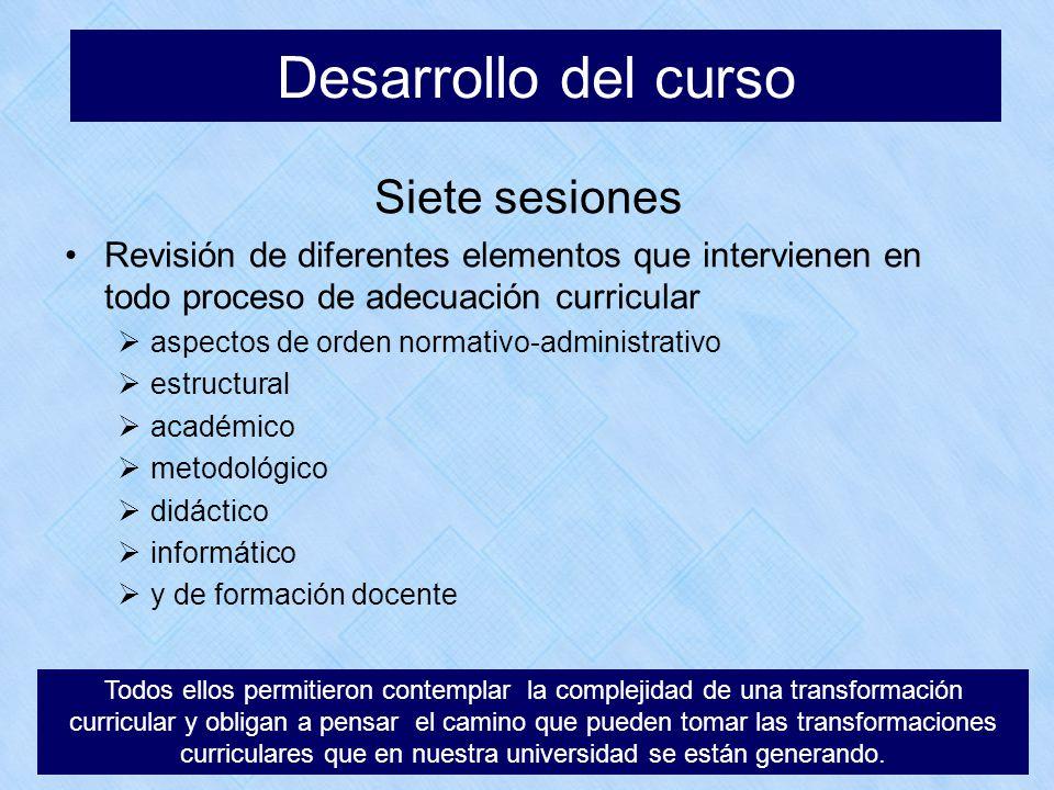 Desarrollo del curso Siete sesiones Revisión de diferentes elementos que intervienen en todo proceso de adecuación curricular aspectos de orden normat