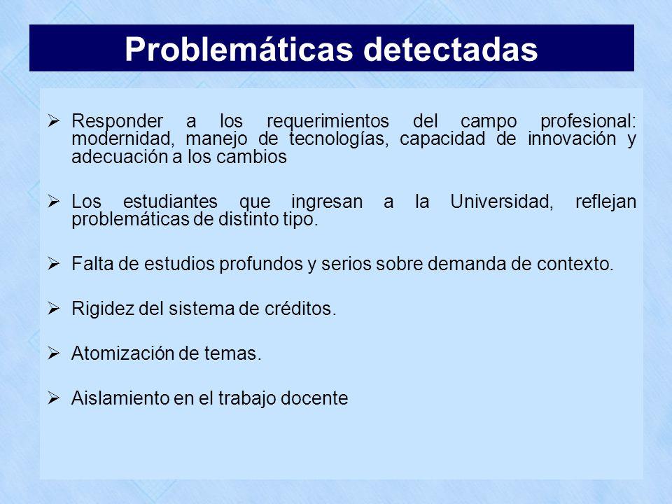 Problemáticas detectadas Responder a los requerimientos del campo profesional: modernidad, manejo de tecnologías, capacidad de innovación y adecuación