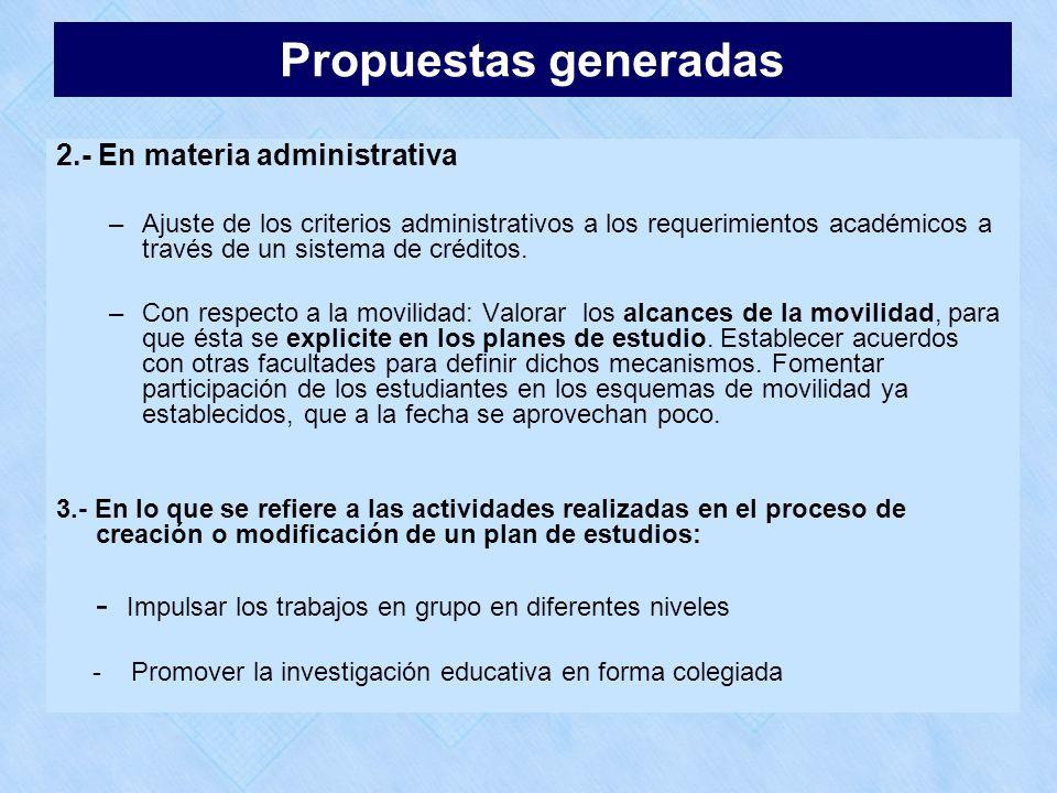 2.- En materia administrativa –Ajuste de los criterios administrativos a los requerimientos académicos a través de un sistema de créditos. –Con respec