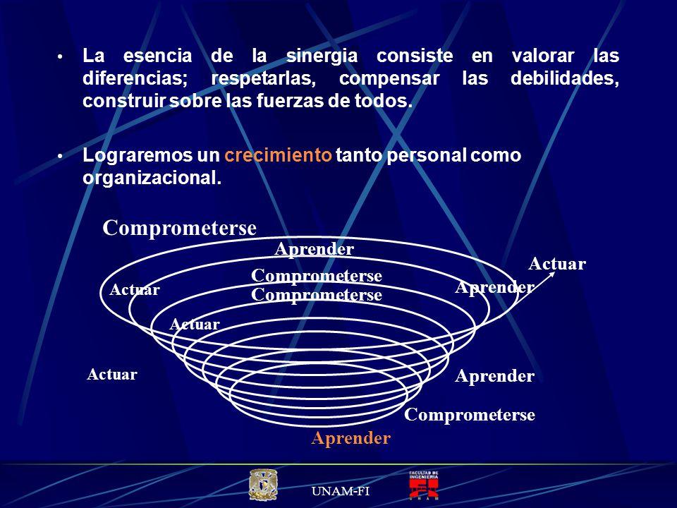 UNAM-FI La esencia de la sinergia consiste en valorar las diferencias; respetarlas, compensar las debilidades, construir sobre las fuerzas de todos.