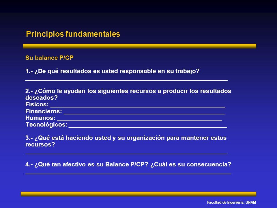 Facultad de Ingeniería, UNAM Principios fundamentales Su balance P/CP 1.- ¿De qué resultados es usted responsable en su trabajo? _____________________