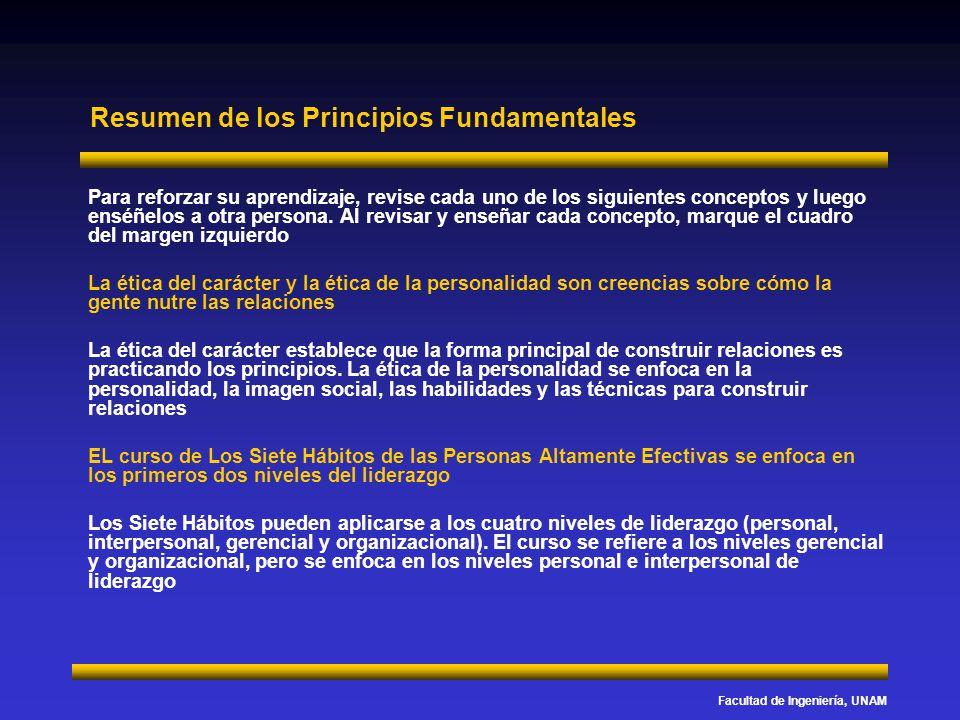 Facultad de Ingeniería, UNAM Resumen de los Principios Fundamentales Para reforzar su aprendizaje, revise cada uno de los siguientes conceptos y luego