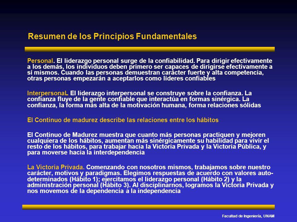 Facultad de Ingeniería, UNAM Resumen de los Principios Fundamentales Personal. El liderazgo personal surge de la confiabilidad. Para dirigir efectivam