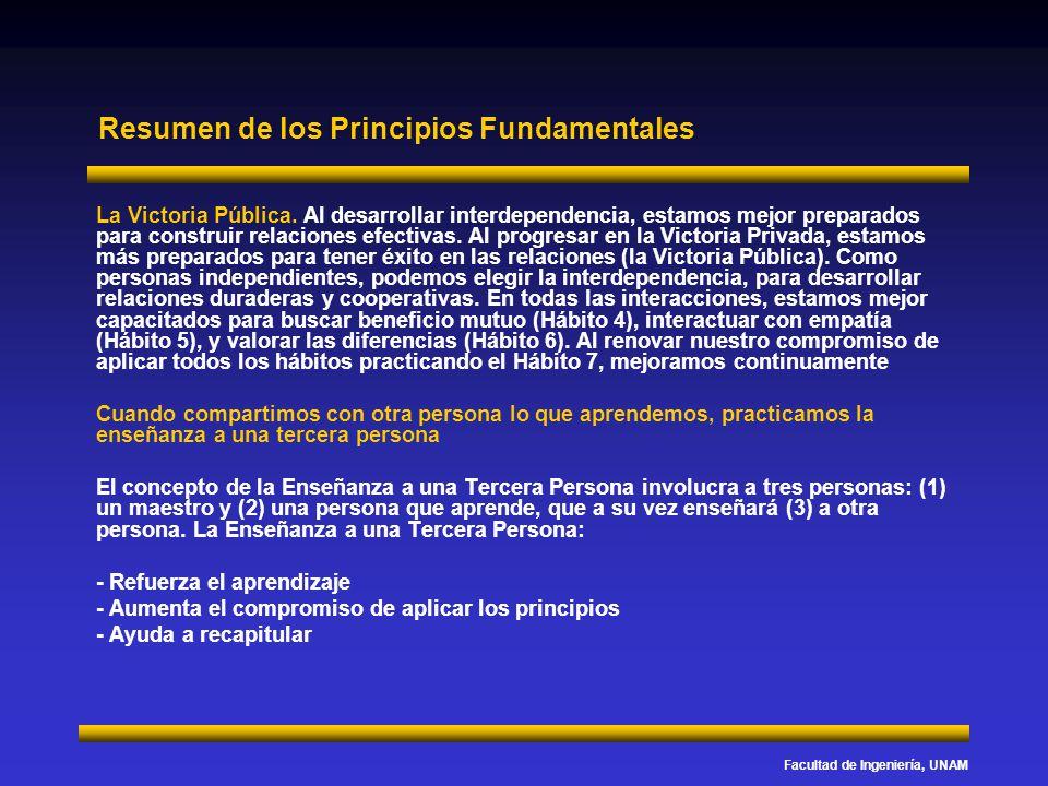 Facultad de Ingeniería, UNAM Resumen de los Principios Fundamentales La Victoria Pública. Al desarrollar interdependencia, estamos mejor preparados pa