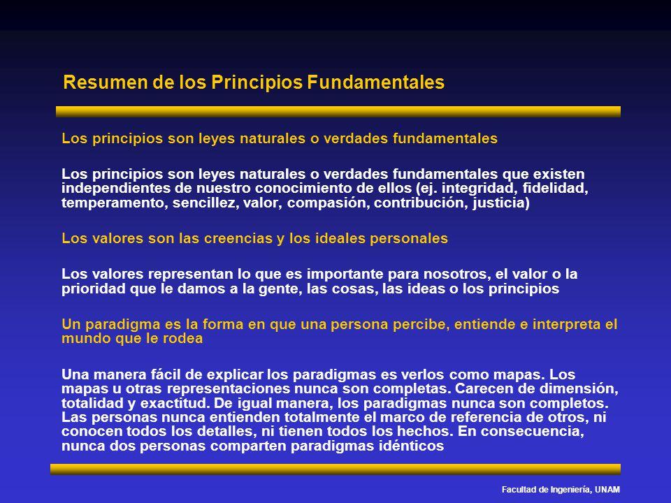 Facultad de Ingeniería, UNAM Resumen de los Principios Fundamentales Los principios son leyes naturales o verdades fundamentales Los principios son le