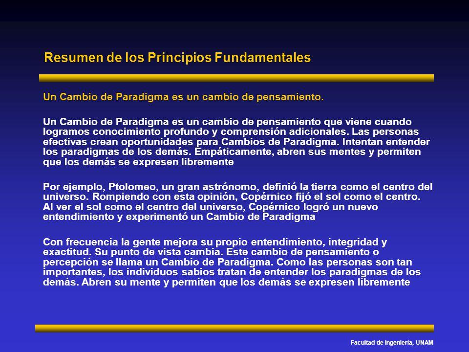 Facultad de Ingeniería, UNAM Resumen de los Principios Fundamentales Un Cambio de Paradigma es un cambio de pensamiento. Un Cambio de Paradigma es un