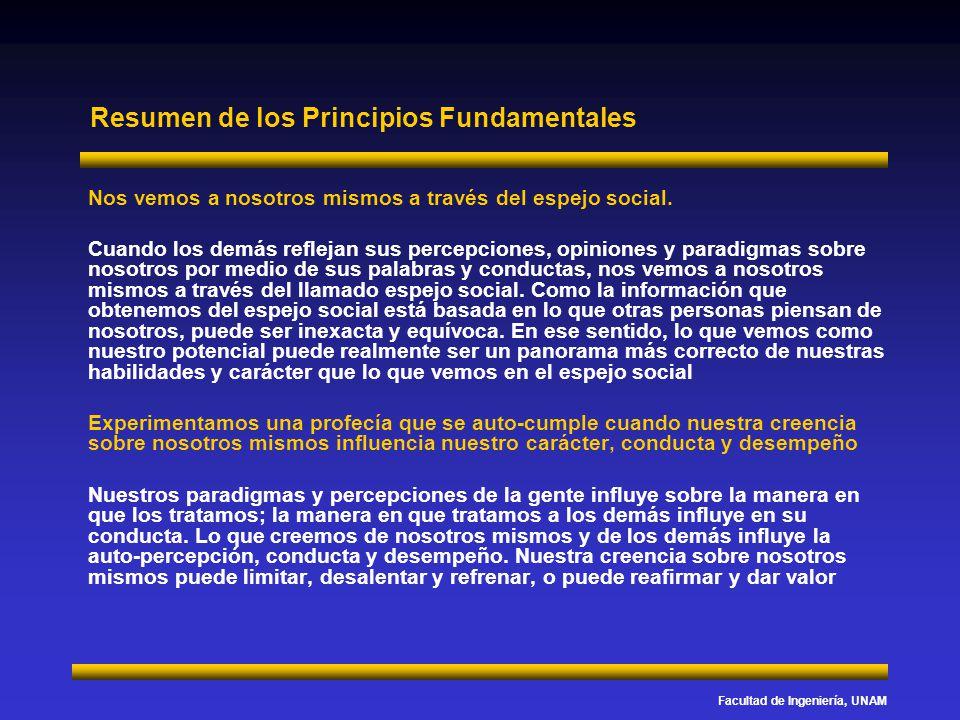 Facultad de Ingeniería, UNAM Resumen de los Principios Fundamentales Nos vemos a nosotros mismos a través del espejo social. Cuando los demás reflejan