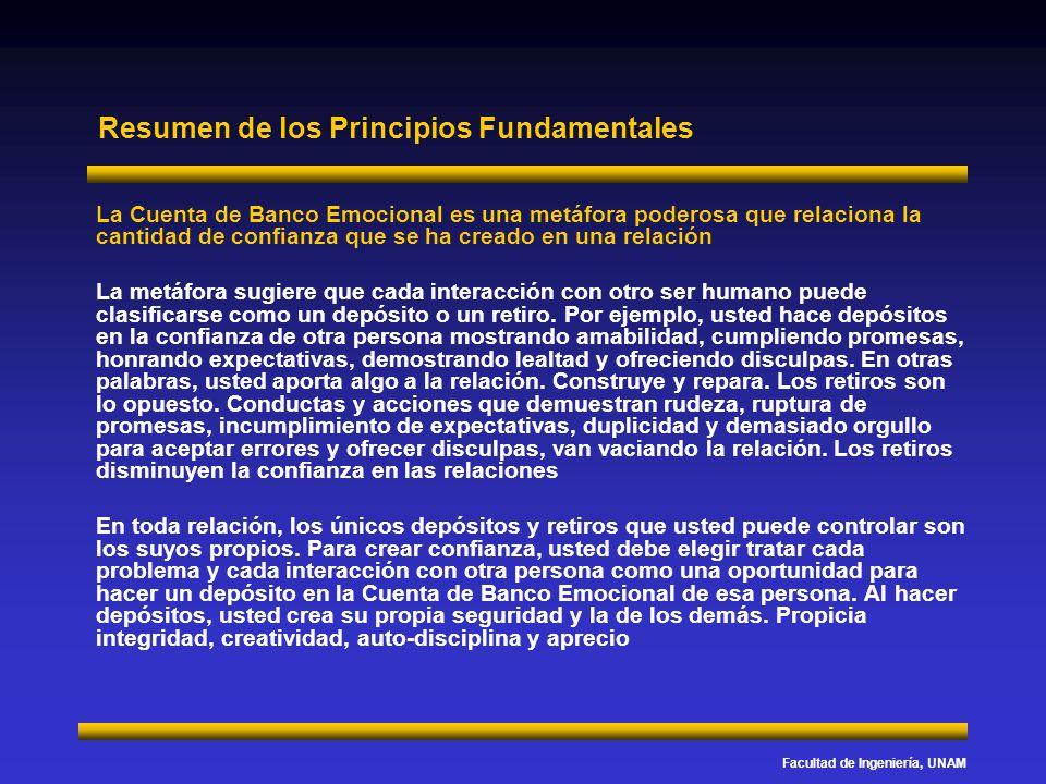 Facultad de Ingeniería, UNAM Resumen de los Principios Fundamentales La Cuenta de Banco Emocional es una metáfora poderosa que relaciona la cantidad d