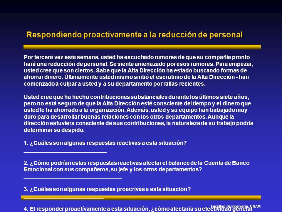 Facultad de Ingeniería, UNAM Respondiendo proactivamente a la reducción de personal Por tercera vez esta semana, usted ha escuchado rumores de que su