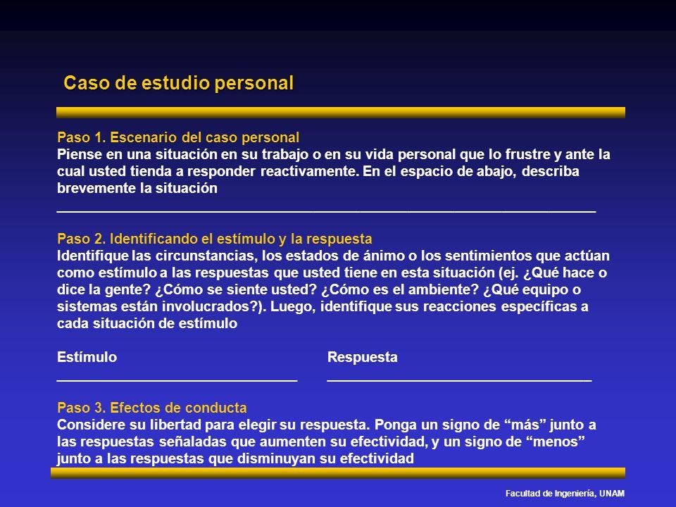 Facultad de Ingeniería, UNAM Caso de estudio personal Paso 1. Escenario del caso personal Piense en una situación en su trabajo o en su vida personal
