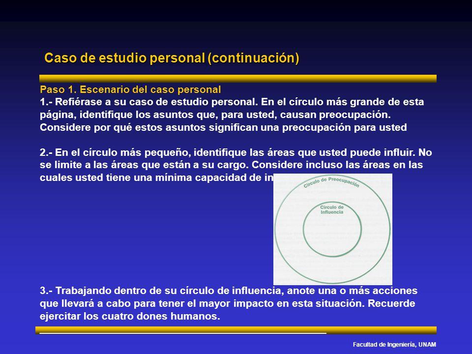 Facultad de Ingeniería, UNAM Caso de estudio personal (continuación) Paso 1. Escenario del caso personal 1.- Refiérase a su caso de estudio personal.
