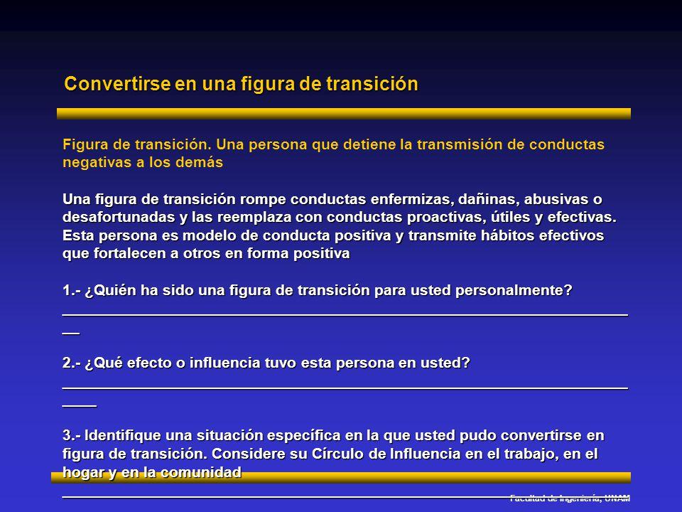 Facultad de Ingeniería, UNAM Convertirse en una figura de transición Figura de transición. Una persona que detiene la transmisión de conductas negativ