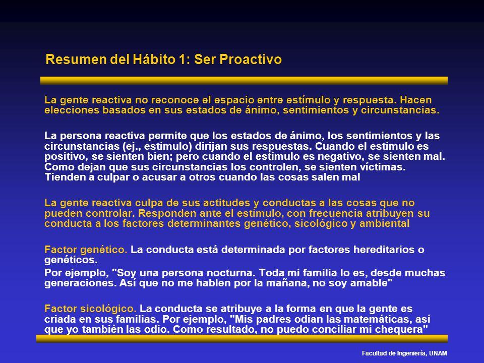 Facultad de Ingeniería, UNAM Resumen del Hábito 1: Ser Proactivo La gente reactiva no reconoce el espacio entre estímulo y respuesta. Hacen elecciones