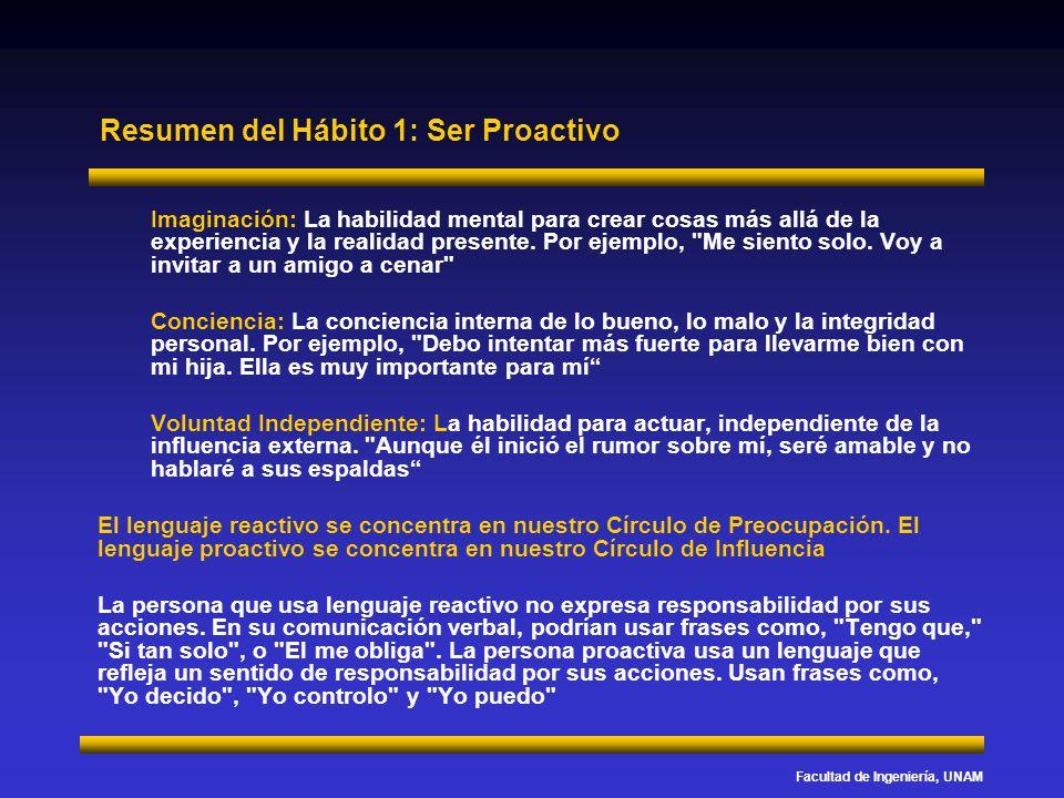 Facultad de Ingeniería, UNAM Resumen del Hábito 1: Ser Proactivo Imaginación: La habilidad mental para crear cosas más allá de la experiencia y la rea