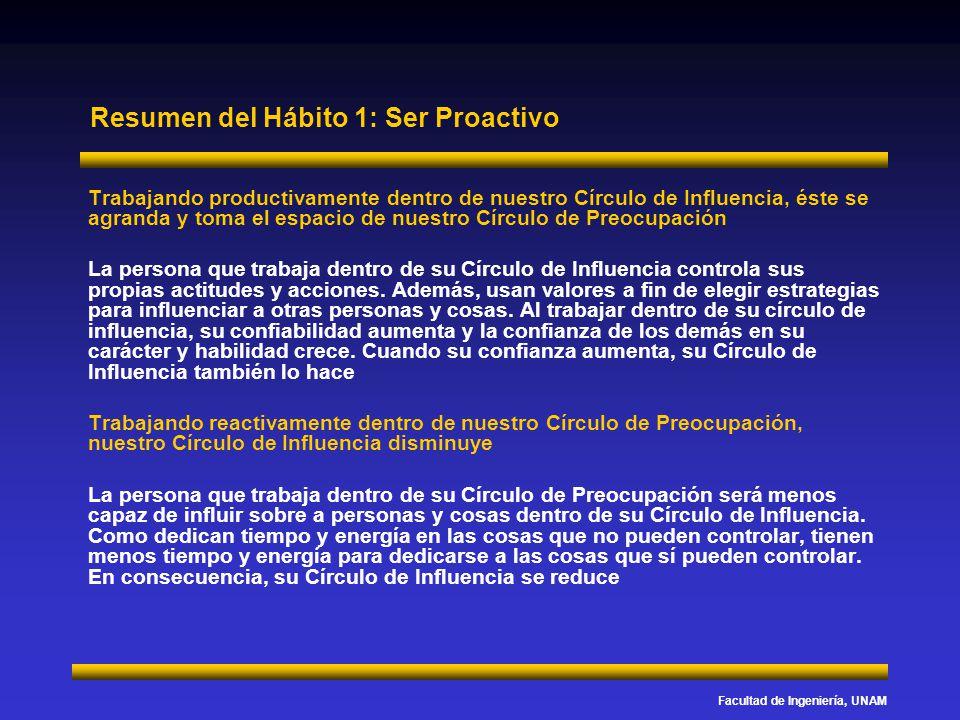 Facultad de Ingeniería, UNAM Resumen del Hábito 1: Ser Proactivo Trabajando productivamente dentro de nuestro Círculo de Influencia, éste se agranda y