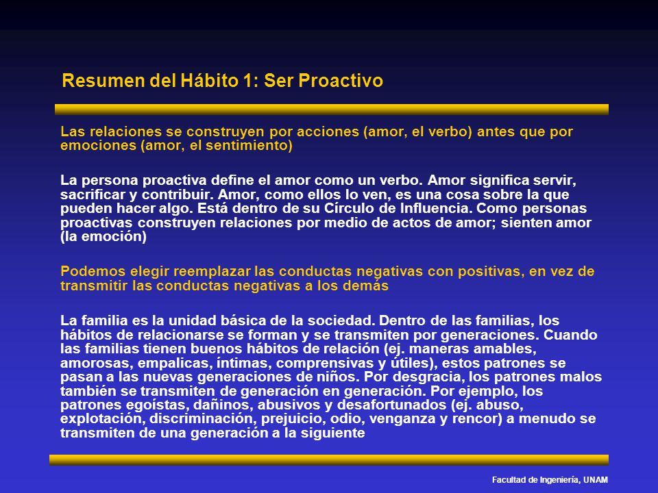 Facultad de Ingeniería, UNAM Resumen del Hábito 1: Ser Proactivo Las relaciones se construyen por acciones (amor, el verbo) antes que por emociones (a