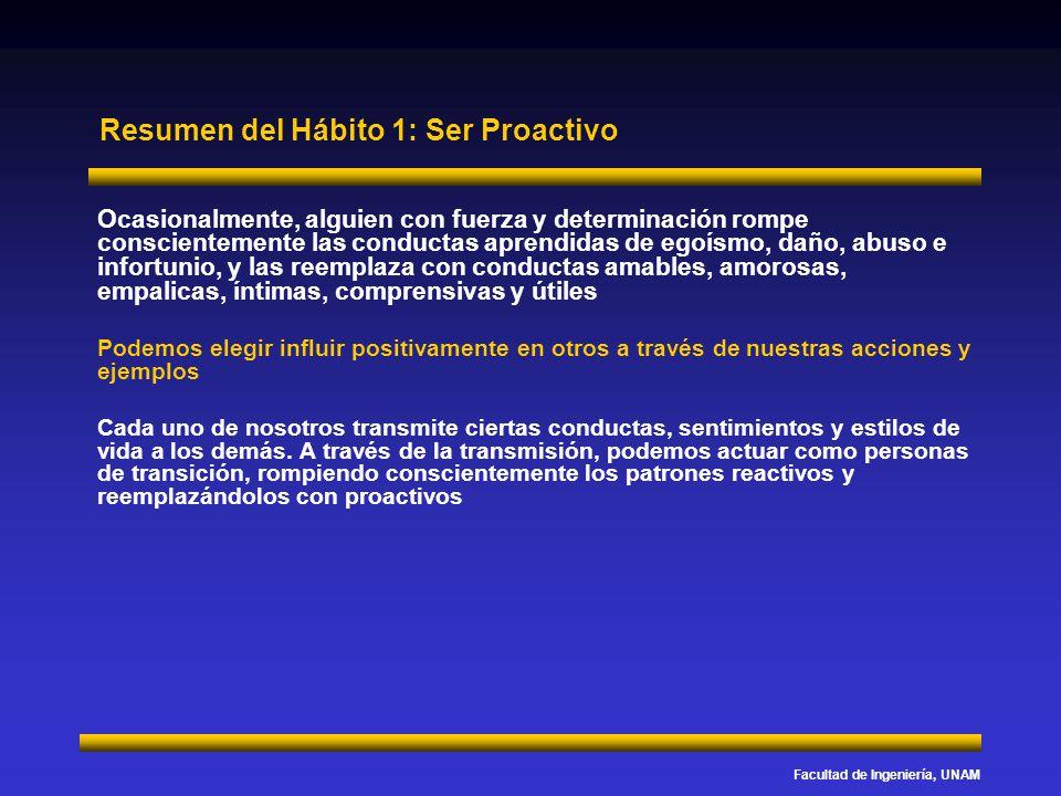 Facultad de Ingeniería, UNAM Resumen del Hábito 1: Ser Proactivo Ocasionalmente, alguien con fuerza y determinación rompe conscientemente las conducta