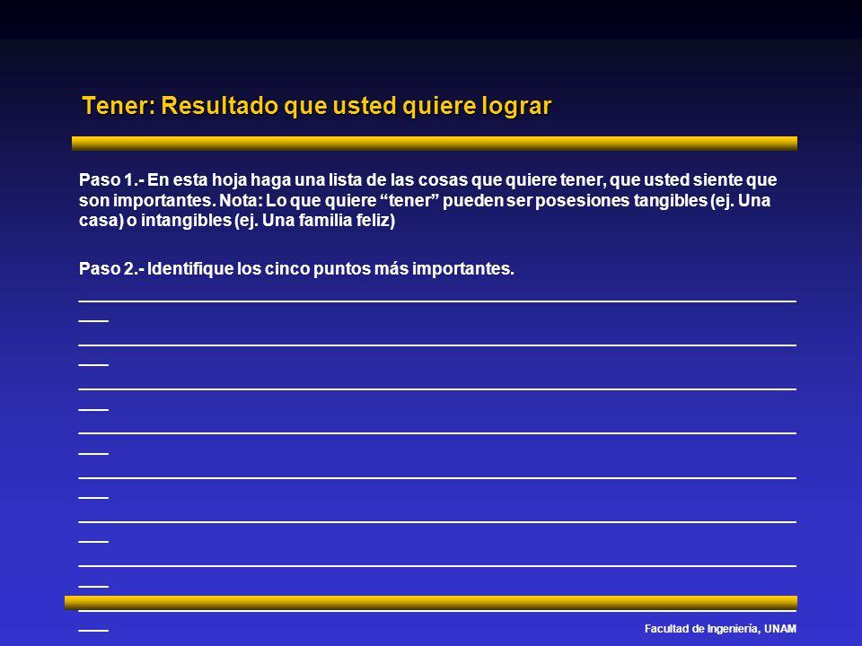 Facultad de Ingeniería, UNAM Tener: Resultado que usted quiere lograr Paso 1.- En esta hoja haga una lista de las cosas que quiere tener, que usted si