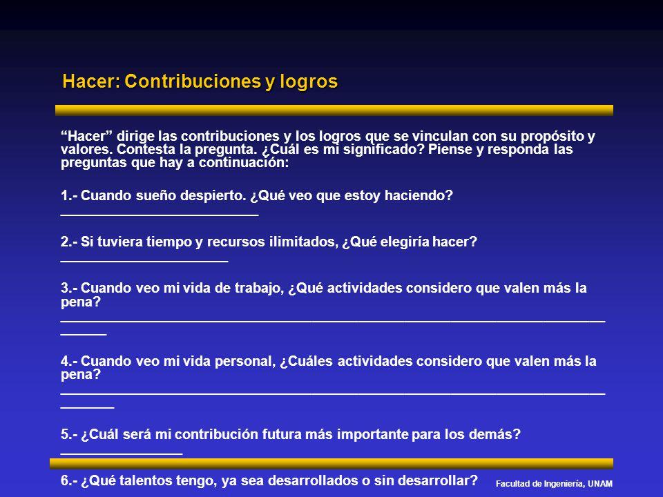 Facultad de Ingeniería, UNAM Hacer: Contribuciones y logros Hacer dirige las contribuciones y los logros que se vinculan con su propósito y valores. C
