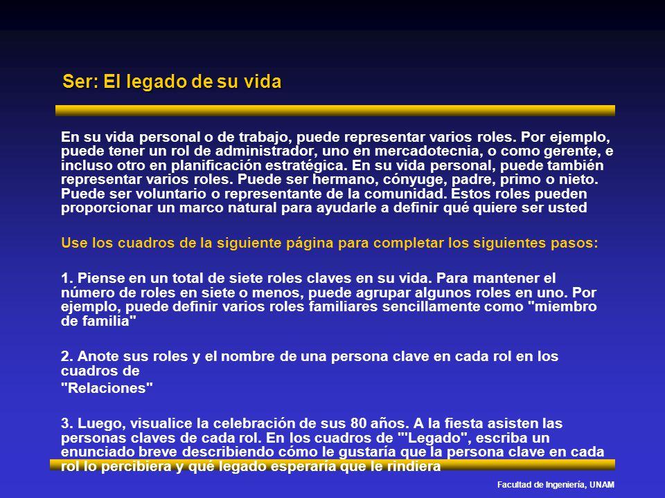 Facultad de Ingeniería, UNAM Ser: El legado de su vida En su vida personal o de trabajo, puede representar varios roles. Por ejemplo, puede tener un r