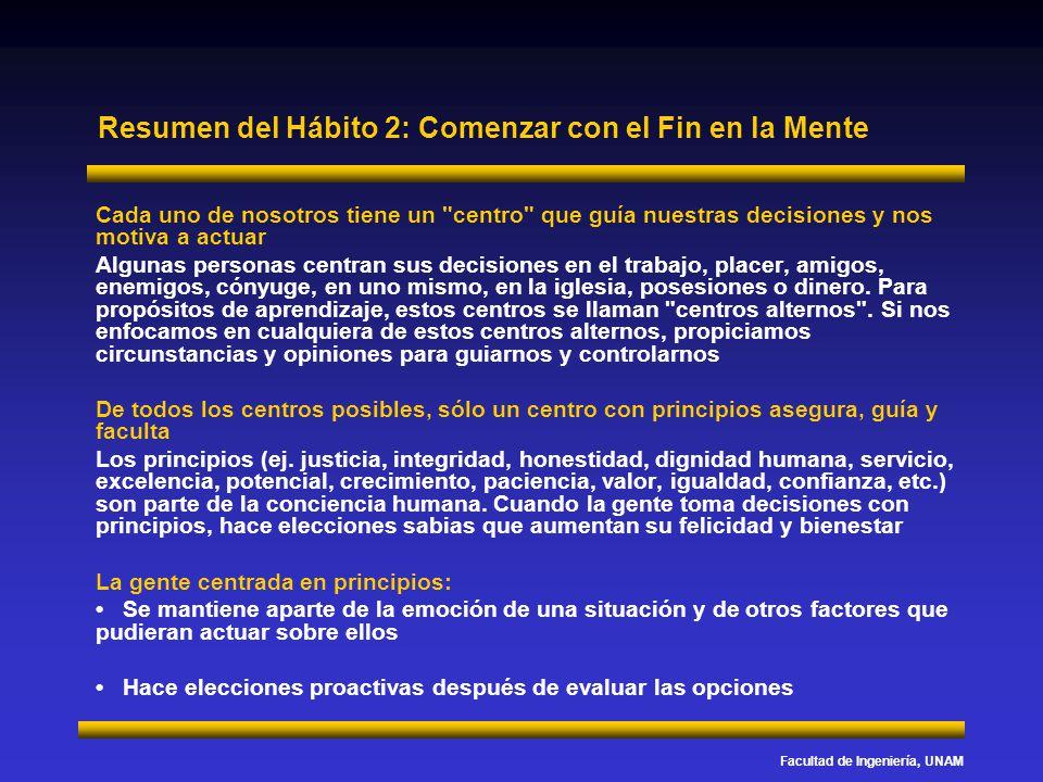 Facultad de Ingeniería, UNAM Resumen del Hábito 2: Comenzar con el Fin en la Mente Cada uno de nosotros tiene un