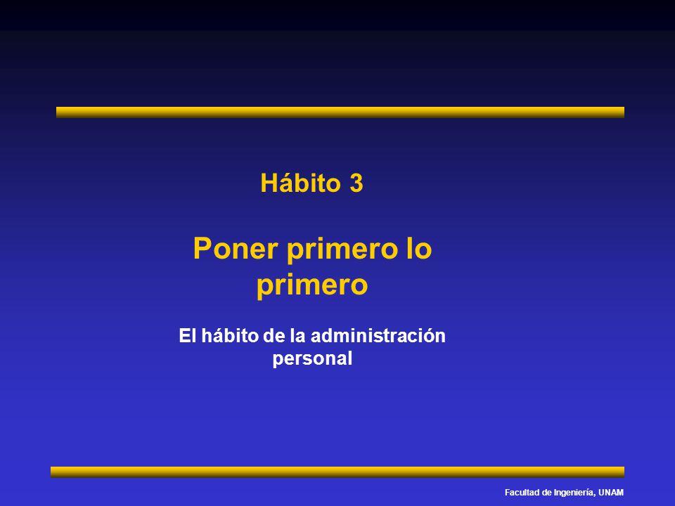 Facultad de Ingeniería, UNAM Hábito 3 Poner primero lo primero El hábito de la administración personal