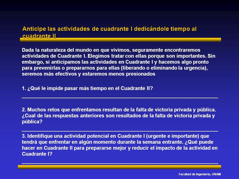 Facultad de Ingeniería, UNAM Anticipe las actividades de cuadrante I dedicándole tiempo al cuadrante II Dada la naturaleza del mundo en que vivimos, s