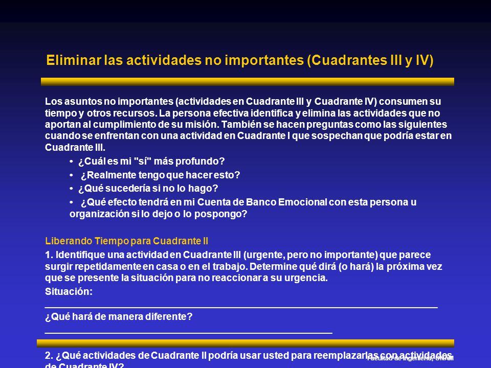 Facultad de Ingeniería, UNAM Eliminar las actividades no importantes (Cuadrantes III y IV) Los asuntos no importantes (actividades en Cuadrante III y