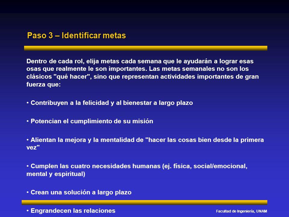 Facultad de Ingeniería, UNAM Paso 3 – Identificar metas Dentro de cada rol, elija metas cada semana que le ayudarán a lograr esas osas que realmente l