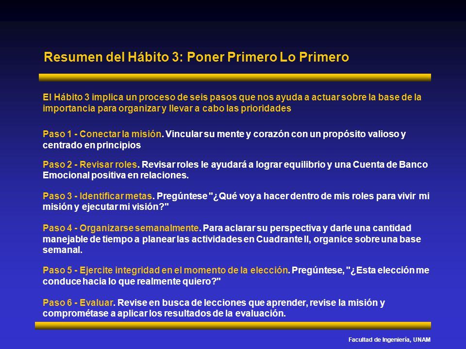 Facultad de Ingeniería, UNAM Resumen del Hábito 3: Poner Primero Lo Primero El Hábito 3 implica un proceso de seis pasos que nos ayuda a actuar sobre