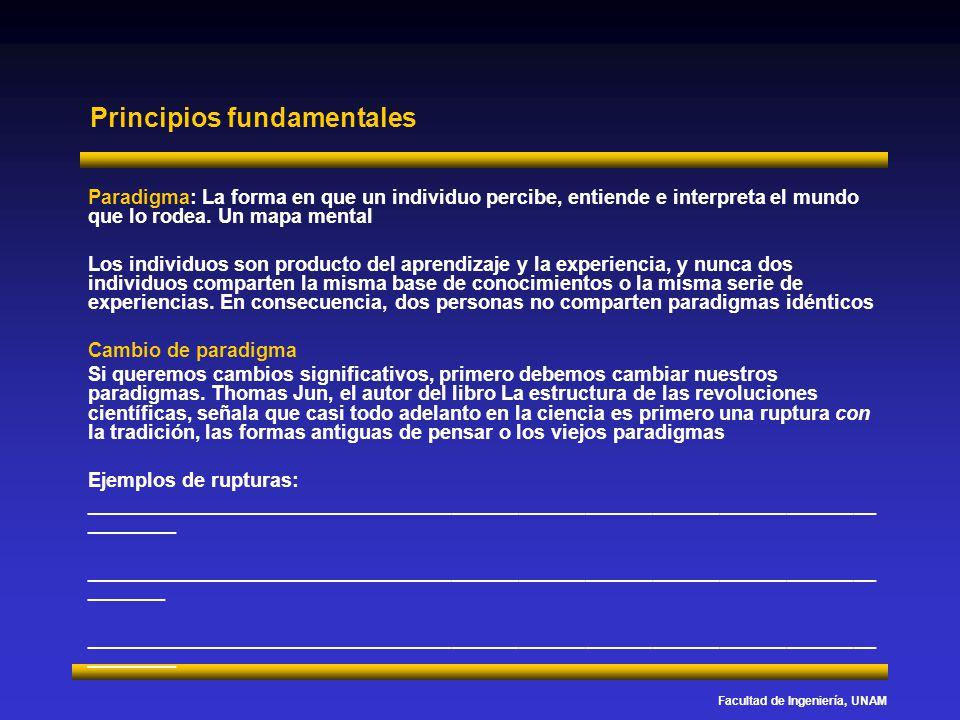 Facultad de Ingeniería, UNAM Principios fundamentales Paradigma: La forma en que un individuo percibe, entiende e interpreta el mundo que lo rodea. Un