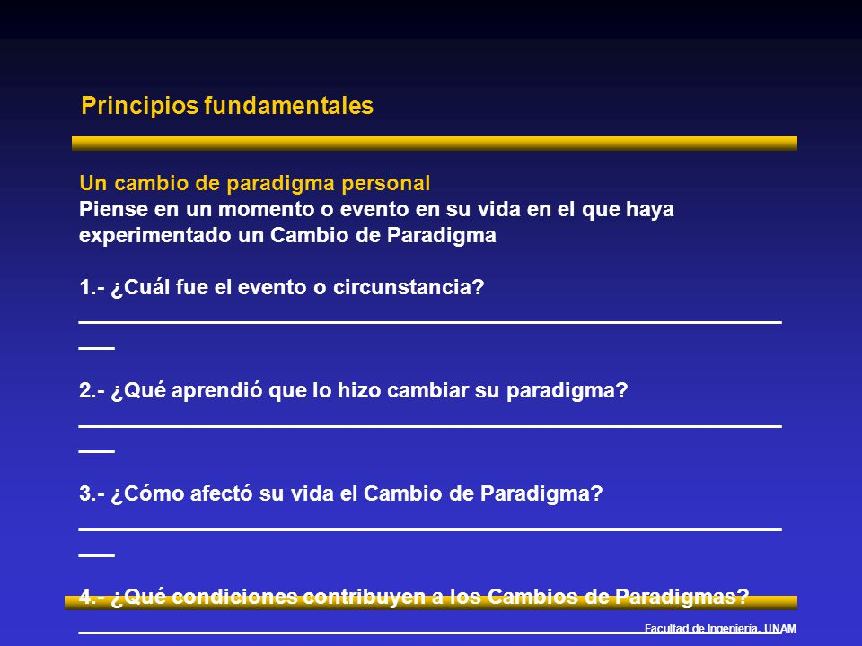 Facultad de Ingeniería, UNAM Principios fundamentales La forma en que vemos a los demás Esta actividad está diseñada para ayudarle a examinar los paradigmas que usted tiene de los demás y el impacto de sus paradigmas sobre ellos.