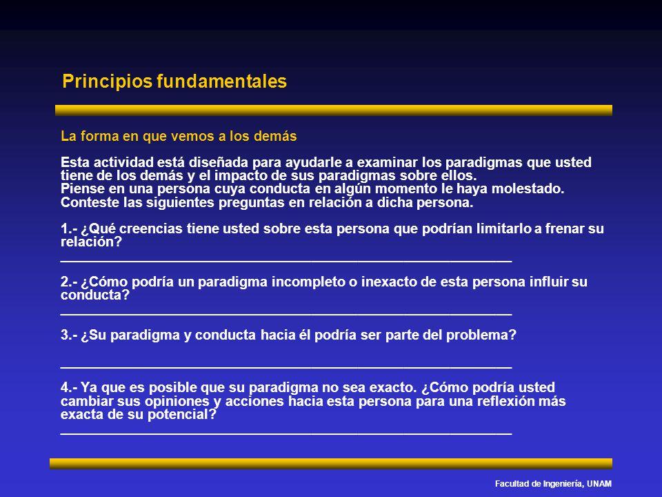 Facultad de Ingeniería, UNAM Principios fundamentales La forma en que vemos a los demás Esta actividad está diseñada para ayudarle a examinar los para